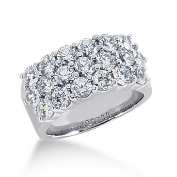18K Three Row Pattrened, Round Brilliant Diamond Ring (2.85 ctw.)