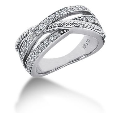 18K Criss Cross Round Brilliant Diamond Anniversary Ring (0.48ctw.)