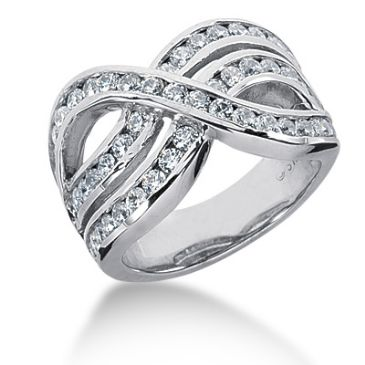 18K Interlock Design Round Brilliant Diamond Anniversary Ring (1.68ctw.)