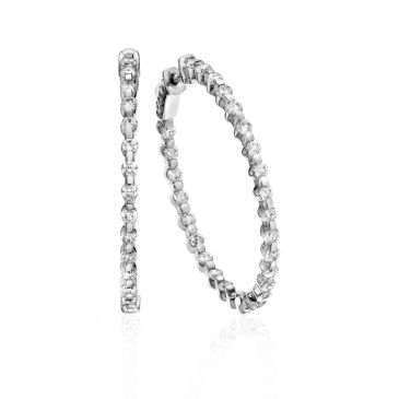 18K White Gold Bar Set Diamond Hoop Earring (2.60ctw.)