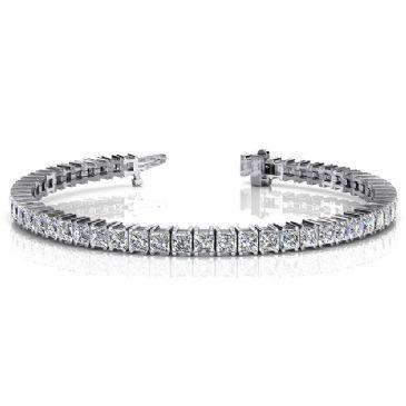18K White Gold Diamond Princess Cut 4 Prong Set Tennis Bracelet (9.35ctw.)