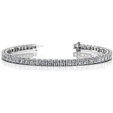 18K White Gold Diamond Princess Cut 4 Prong Tennis Bracelet (8.96ctw.)