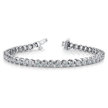 18K White Gold Diamond Round Brilliant 3 Prong Set Tennis Bracelet (5.16ctw.)