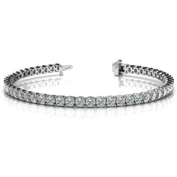 18K White Gold Diamond Round Brilliant 4 Prong Set Tennis Bracelet (6.12ctw.)