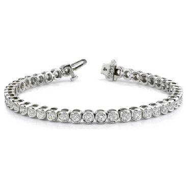 18K White Gold Diamond Round Brilliant Channel Set Tennis Bracelet (3.87ctw.)