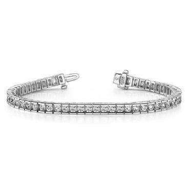 18K White Gold Diamond Round Brilliant Channel Tennis Bracelet (5.6ctw.)