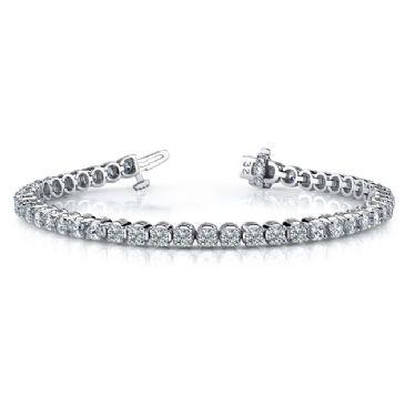 18K White Gold Diamond Round Brilliant Classic Prong Tennis Bracelet (5.52ctw.)