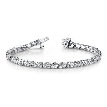 18K White Gold Diamond Round Brilliant Prong Set Tennis Bracelet (7.00ctw.)