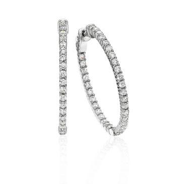 18K White Gold Four Prong Set Diamond Hoop Earring  (1.98ctw.)