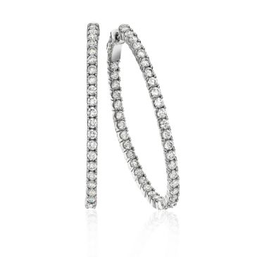 18K White Gold Four Prong Set Oval Shaped Diamond Hoop Earring (5.46ctw.)