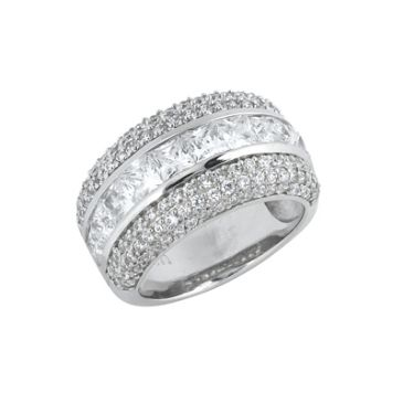 18K White Gold Princess Centred Diamod Anniversary Band (4.00ctw.)