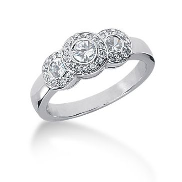 18K White Gold Round Brilliant Diamond Anniversary Ring (0.51ctw.)
