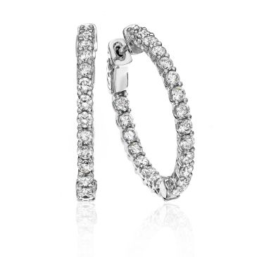 18K White Gold Shared Prong Set Diamond Hoop Earring (1.50ctw.)