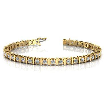 18K Yellow Gold Diamond Illusion Round Brilliant Prong Set Tennis Bracelet (1.56ctw.)