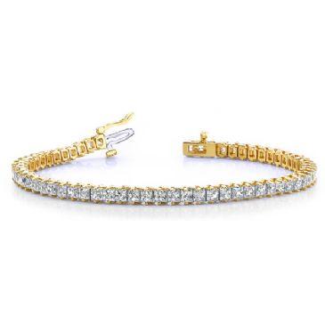 18K Yellow Gold Diamond Princess Cut 2 Prong Set Tennis Bracelet (7.93ctw.)