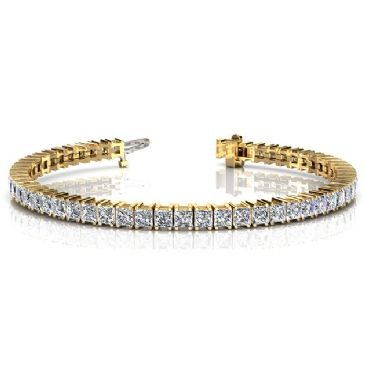 18K Yellow Gold Diamond Princess Cut 4 Prong Set Tennis Bracelet (9.35ctw.)