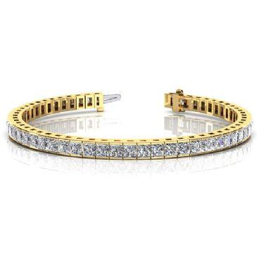 18K Yellow Gold Diamond Princess Cut Channel Set Tennis Bracelet (8.96ctw.)
