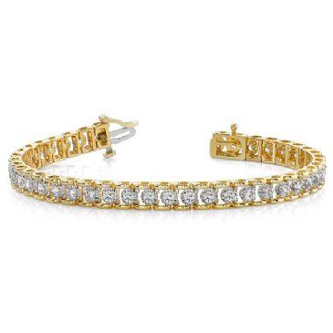 18K Yellow Gold Diamond Round Bridge Prong Set Tennis Bracelet (2.00ctw.)