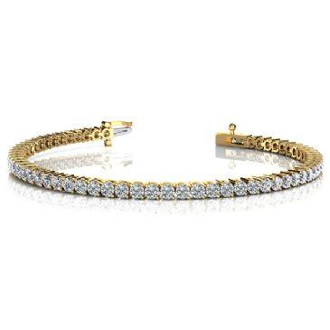 18K Yellow Gold Diamond Round Brilliant 2 Prong Set Tennis Bracelet (5.04ctw.)