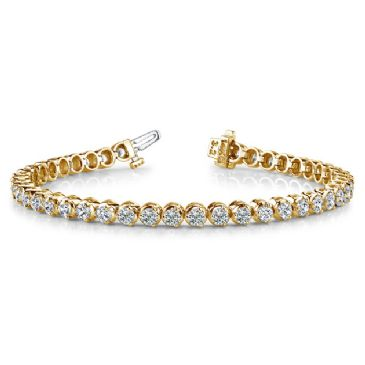 18K Yellow Gold Diamond Round Brilliant 3 Prong Set Tennis Bracelet (5.16ctw.)