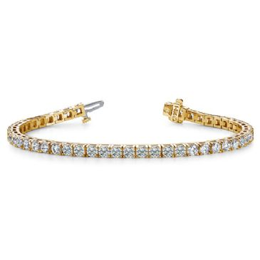 18K Yellow Gold Diamond Round Brilliant 4 Prong Tennis Bracelet (7.68ctw.)