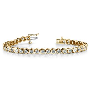18K Yellow Gold Diamond Round Brilliant Bezel Set Tennis Bracelet (2.82ctw.)