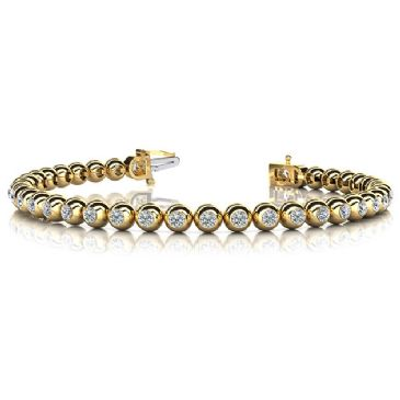 18K Yellow Gold Diamond Round Brilliant Bezel Set Tennis Bracelet (3.04ctw.)