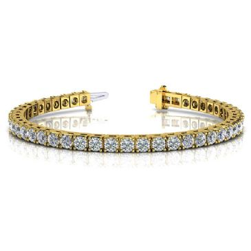 18K Yellow Gold Diamond Round Brilliant Classic Prong Tennis Bracelet (5.98ctw.)