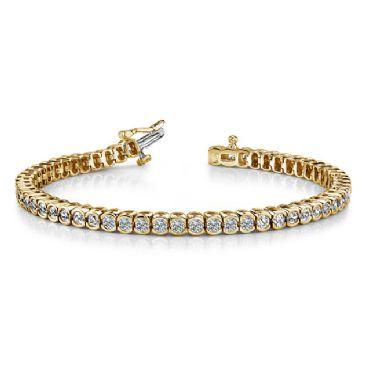 18K Yellow Gold Diamond Round Brilliant Half Bezel Set Tennis Bracelet (5.13ctw.)