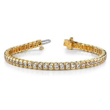 18K Yellow Gold Diamond Round Brilliant Half Bezel Tennis Bracelet (3.06ctw.)