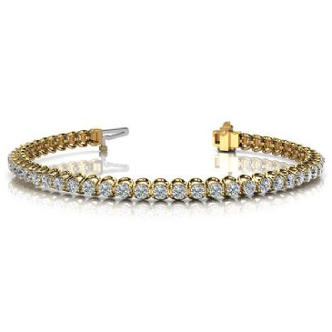 18K Yellow Gold Diamond Round Brilliant Prong Set Tennis Bracelet (4.08ctw.)