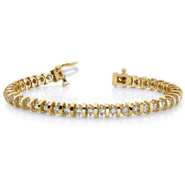 18K Yellow Gold Diamond Round Brilliant Prong Set Tennis Bracelet (4.0ctw.)