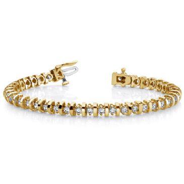 18K Yellow Gold Diamond Round Brilliant Prong Set Tennis Bracelet (4.0ctw.)