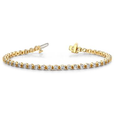 18K Yellow Gold Diamond Round Brilliant Prong Set Tennis Bracelet (4.95ctw.)