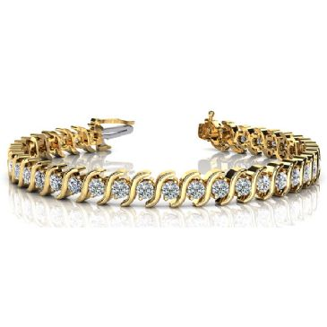 18K Yellow Gold Diamond Round Brilliant S Prong Set Tennis Bracelet (4.18ctw.)