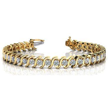 18K Yellow Gold Diamond Round Brilliant S Prong Set Tennis Bracelet (4.18ctw.)