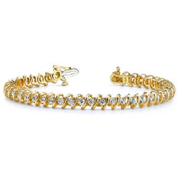 18K Yellow Gold Diamond Round Brilliant Spiral Set Tennis Bracelet (2.94ctw.)