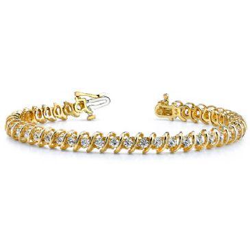 18K Yellow Gold Diamond Round Brilliant Spiral Set Tennis Bracelet (2.94ctw.)