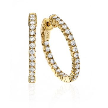18K Yellow Gold Four Prong Set Round Diamond Hoop Earring (1.00ctw.)