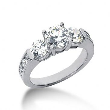 18K Side Stone Diamond Engagement Ring   2.46 ctw 2003-ENGSS18K-6029