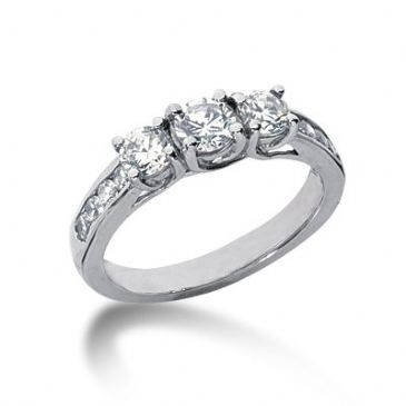 18K Side Stone Diamond Engagement Ring   1.15 ctw 2004-ENGSS18K-6135
