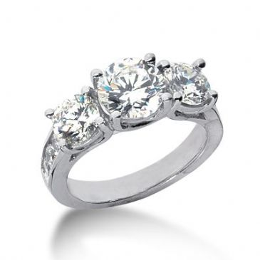 18K Side Stone Diamond Engagement Ring   4.30 ctw 2005-ENGSS18K-6154