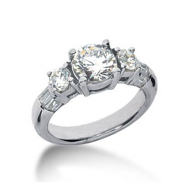 18K Side Stone Diamond Engagement Ring   2.31 ctw 2006-ENGSS18K-6047