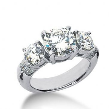Platinum Side Stone Diamond Engagement Ring   4.60 ctw 2007-ENGSSPLAT-6059