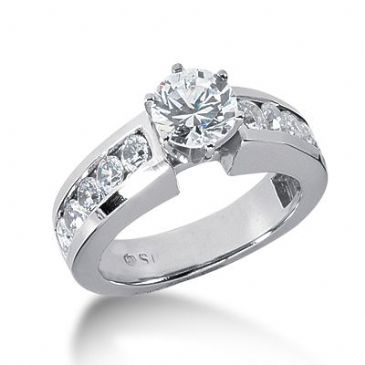 Platinum Side Stone Diamond Engagement Ring   2.0 ctw 2008-ENGSSPLAT-2661