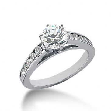 18K Side Stone Diamond Engagement Ring   1.40 ctw 2009-ENGSS18K-1024