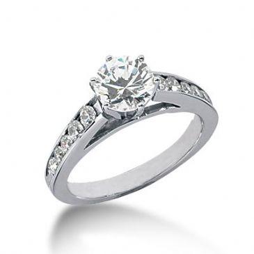 Platinum Side Stone Diamond Engagement Ring   1.40 ctw 2009-ENGSSPLAT-1024