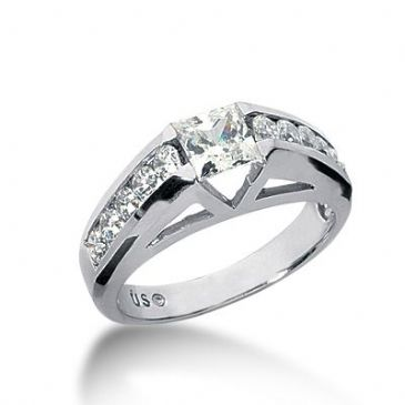 18K Side Stone Diamond Engagement Ring   1.70 ctw 2010-ENGSS18K-1634
