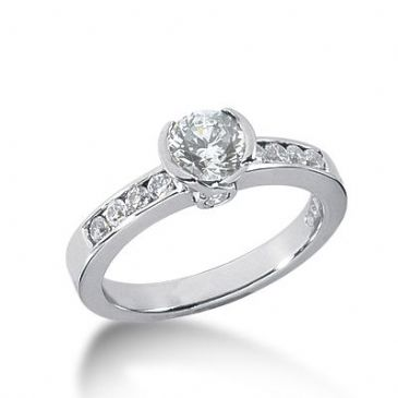18K Side Stone Diamond Engagement Ring   0.90 ctw 2011-ENGSS18K-3077