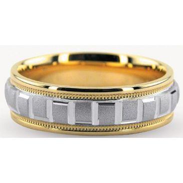 18K Gold Two Tone 6mm Geometric Diamond Cut Wedding Bands 234